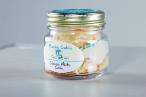 Mandie Cakes Classic White Cake in a jar.