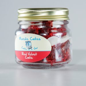 Mandie Cakes Red Velvet Cake in a jar.